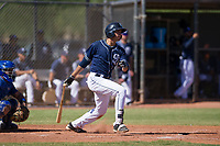San Diego Padres outfielder Agustin Ruiz (68) follows through on his swing during an Instructional League game against the Texas Rangers on September 20, 2017 at Peoria Sports Complex in Peoria, Arizona. (Zachary Lucy/Four Seam Images)