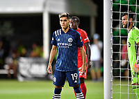 LAKE BUENA VISTA, FL - JULY 26: Jesús Medina of New York City FC waits for a corner during a game between New York City FC and Toronto FC at ESPN Wide World of Sports on July 26, 2020 in Lake Buena Vista, Florida.