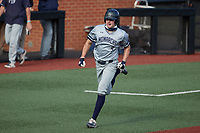 Andy Garriola (9) of the Old Dominion Monarchs hustles towards home plate against the Charlotte 49ers at Hayes Stadium on April 23, 2021 in Charlotte, North Carolina. (Brian Westerholt/Four Seam Images)
