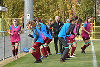 Genk players  pictured during the warming up of a female soccer game between RSC Anderlecht Dames and KRC Genk Ladies  on the sixth matchday of the 2020 - 2021 season of Belgian Womens Super League , Sunday 8 th of November 2020  in Overijse , Belgium . PHOTO SPORTPIX.BE | SPP | DIRK VUYLSTEKE