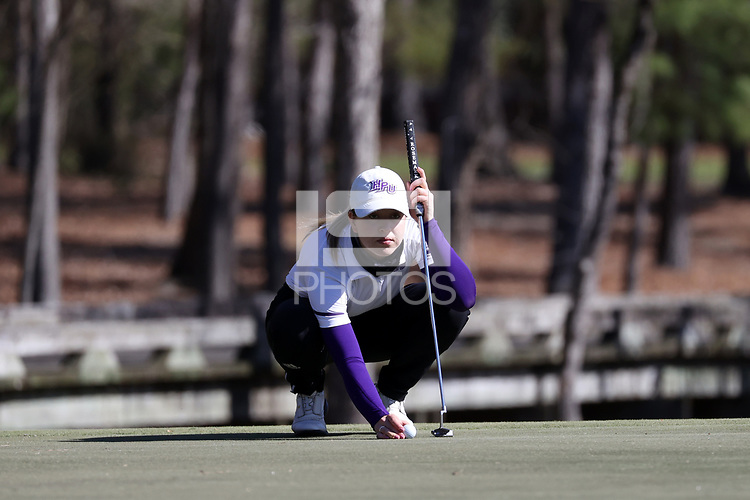 WALLACE, NC - MARCH 09: Ashley Chalmers of High Point University lines up a putt on the 11th green of the River Course at River Landing Country Club on March 09, 2020 in Wallace, North Carolina.