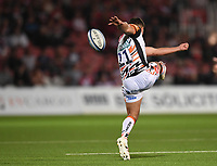 24th September 2021;  Kingsholm Stadium, Gloucester, England; Gallaher Premiership Rugby, Gloucester Rugby versus Leicester Tigers: Ben Youngs of Leicester Tigers kicks the ball downfield