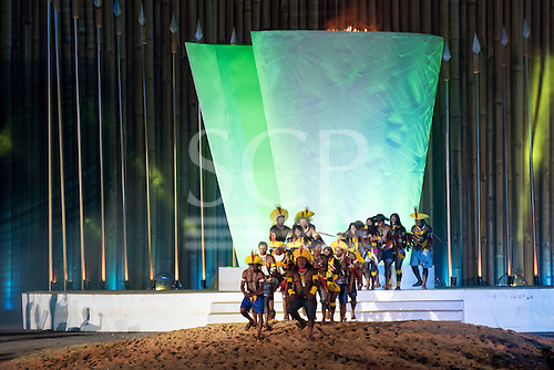 The Kayapo delegation bless the sacred fired during the closing event of the International Indigenous Games, in the city of Palmas, Tocantins State, Brazil. Photo © Sue Cunningham, pictures@scphotographic.com 31st October 2015