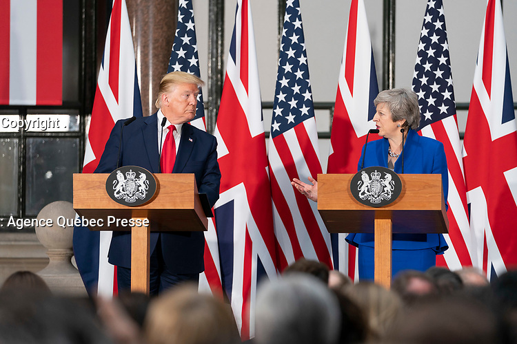 President Trump and Prime Minister Theresa May Hold a Joint Press Conference<br /> <br /> President Donald J. Trump participates in a joint press conference with British Prime Minister Theresa May Tuesday, June 4, 2019, at No. 10 Downing Street in London. (Official White House Photo by Shealah Craighead)