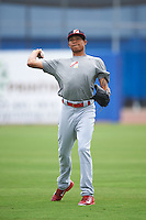 Palm Beach Cardinals pitcher Silfredo Garcia (44) throws in the outfield before a game against the Dunedin Blue Jays on April 15, 2016 at Florida Auto Exchange Stadium in Dunedin, Florida.  Dunedin defeated Palm Beach 8-7.  (Mike Janes/Four Seam Images)