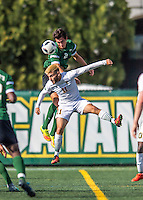 24 September 2016: Dartmouth College Big Green Midfielder/Defender Braden Salvati, a Freshman from Del Mar, CA, battles University of Vermont Catamount Forward/Midfielder Stefan Lamanna, a Senior from Pickering, Ontario, at Virtue Field in Burlington, Vermont. The teams played to an overtime 1-1 tie in front of an Alumni Weekend crowd of 1,710 fans. Mandatory Credit: Ed Wolfstein Photo *** RAW (NEF) Image File Available ***