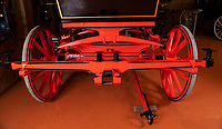 BNPS.co.uk (01202 558833)<br /> Pic: PhilYeomans/BNPS<br /> <br /> The dished wheel's and wood and sprung steel suspension was state of the art for the day.<br /> <br /> Last Post - Britain's last Royal Mail carriage, that bizarrely once survived an attack by a lion outside Salisbury, has been saved for the nation.<br /> <br /> The 200-year-old horse-drawn carriage harks back to the golden age of the Royal Mail when crowds gathered along the route to see the lightning-quick service thunder by.<br /> <br /> The restored four horse coach was known as 'Quicksilver' as it was the fastest in the land on its regular 21 hour run from Devonport, Devon, to London.<br /> <br /> But the red and black wooden wagon went down in history for an extraordinary incident involving a lion in the English countryside in 1816.