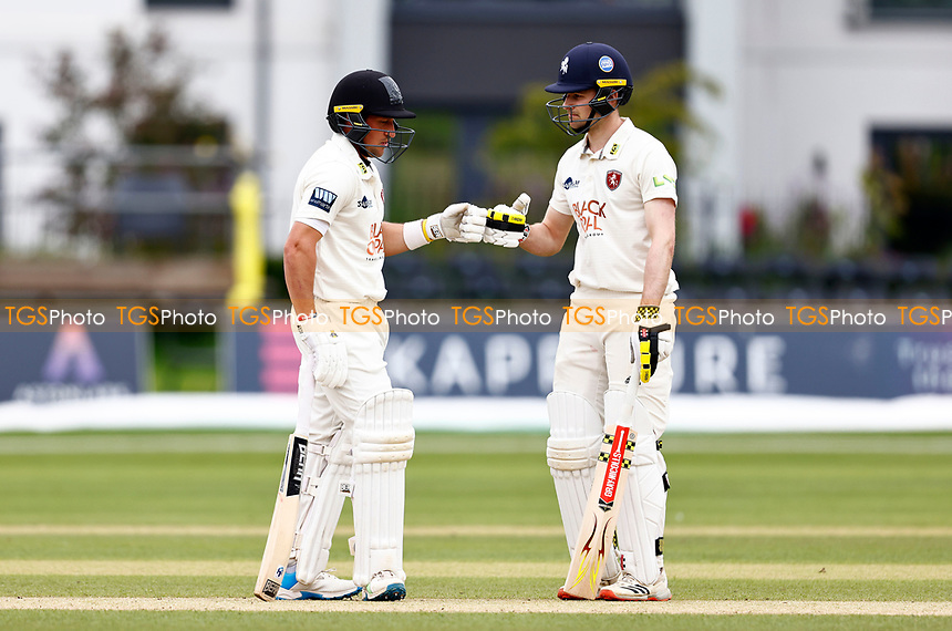 Harry Finch (L) and Marcus O'Riordan of Kent during Kent CCC vs Sussex CCC, LV Insurance County Championship Group 3 Cricket at The Spitfire Ground on 14th July 2021