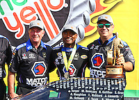 May 17, 2015; Commerce, GA, USA; NHRA top fuel driver Antron Brown celebrates with his crew after winning the Southern Nationals at Atlanta Dragway. Mandatory Credit: Mark J. Rebilas-USA TODAY Sports