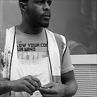 Portrait of man in decorators overalls.