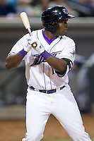 Courtney Hawkins (10) of the Winston-Salem Dash at bat against the Wilmington Blue Rocks at BB&T Ballpark on April 3, 2014 in Winston-Salem, North Carolina.  The Blue Rocks defeated the Dash 3-1.  (Brian Westerholt/Four Seam Images)