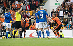 St Johnstone v Dundee United…22.08.21  McDiarmid Park    SPFL<br />Peter Pawlett is sent off after getting a second yellow card from referee Don Robertson for diving<br />Picture by Graeme Hart.<br />Copyright Perthshire Picture Agency<br />Tel: 01738 623350  Mobile: 07990 594431