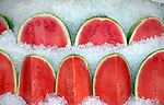 Watermelons are on sale in the local grocery store in Sausalito in California.