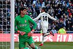 Real Madrid's Carlos Henrique Casemiro celebrates goal during La Liga match between Real Madrid and Girona FC at Santiago Bernabeu Stadium in Madrid, Spain. February 17, 2019. (ALTERPHOTOS/A. Perez Meca)