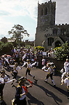 "Whitchurch Morris dancers  Wingrave Parish church of ""St Peter and St Paul""  Buckinghamshire. England 1990s."