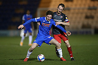 Noah Chilvers of Colchester United and Jake Taylor of Exeter City during Colchester United vs Exeter City, Sky Bet EFL League 2 Football at the JobServe Community Stadium on 23rd February 2021