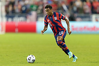 KANSAS CITY, KS - JULY 11: Jonathan Lewis #15 of the United States moves with the ball during a game between Haiti and USMNT at Children's Mercy Park on July 11, 2021 in Kansas City, Kansas.