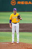 LSU Tigers starting pitcher AJ Labas (26) looks to his catcher for the sign against the Tennessee Volunteers on Robert M. Lindsay Field at Lindsey Nelson Stadium on March 28, 2021, in Knoxville, Tennessee. (Danny Parker/Four Seam Images)