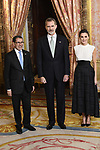 King Felipe VI of Spain (C) and Queen Letizia of Spain (R) receive Saadedin el Othmani of Morocco (L) because of the United Nations conference for the Climate Summit 2019 (COP25) at the Royal Palace. December 2,2019. (ALTERPHOTOS/Pool/Carlos Alvarez)