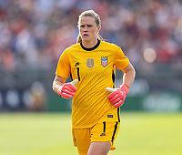 EAST HARTFORD, CT - JULY 5: Alyssa Naeher #1 of the USWNT runs during a game between Mexico and USWNT at Rentschler Field on July 5, 2021 in East Hartford, Connecticut.