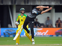 New Zealand's Amelia Kerr tries to field off her own bowling during the 2nd international women's T20 cricket match between the New Zealand White Ferns and Australia at McLean Park in Napier, New Zealand on Tuesday, 30 March 2021. Photo: Dave Lintott / lintottphoto.co.nz