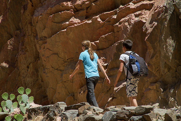 Boy and girl on the Bright Angel Trail along the Colorado River, Grand Canyon National Park, Arizona . John offers private photo tours in Grand Canyon National Park and throughout Arizona, Utah and Colorado. Year-round.