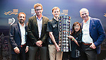 (L-R) Antonio Volanos Lopez, acting CEO of the Volvo Ocean Race, Anthony Day, HKSF Council Member Calum Gregor, Charlotte Lo , young sailors of the Hong Kong Royal Yatching Club and Jon Bramley, Volvo Ocean Race Director News &  Media pose with the trophy during press conference to announce the collaboration with the Hong Kong SAR Government and the Hong Kong Sailing Federation to bring the race to Hong Kong's Victoria Harbour on April 13 2016 at the HKRYC in Hong Kong, China. Hong Kong, one of the world's most prestigious sailing destinations, will be hosting the Volvo Ocean Race for the first time when the event visits in February 2018 during the 13th edition. Photo by Victor Fraile / Power Sport Images