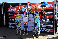 MX2 Podium (L-R) 3rd - Jake Moss ; 1st - Caleb Ward and 2nd - Nathan Crawford<br /> 2016 MX Nationals / Round 1 / MX2<br /> Australian Motocross Championships<br /> Horsham VIC Sunday 3 April 2016<br /> © Sport the library / Jeff Crow
