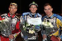 Winner Darcy Ward, Runner-Up Lewis Bridger (right) and 3rd placed Andreas Jonsson - Lee Richardson Memorial at the Arena Essex Raceway, Pufleet - 28/09/12 - MANDATORY CREDIT: Rob Newell/TGSPHOTO - Self billing applies where appropriate - 0845 094 6026 - contact@tgsphoto.co.uk - NO UNPAID USE.