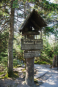 National Forest and State Park boundary on Cannon Mountain in the New Hampshire White Mountains.