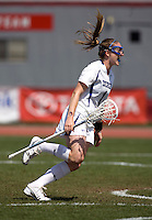 Sarah Bullard (1) of Duke celebrates her goal during the first round of the ACC Women's Lacrosse Championship in College Park, MD.  Duke defeated Boston College, 17-6.