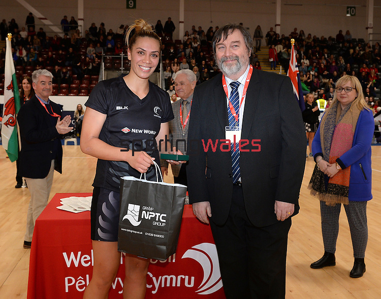 New Zealand's Grace Rasmussen receives her player of the series award from Keith Booker, Deputy CEO at Neath Port Talbot colleges <br /> <br /> Swansea University International Netball Test Series: Wales v New Zealand<br /> Ice Arena Wales<br /> 08.02.17<br /> ©Ian Cook - Sportingwales