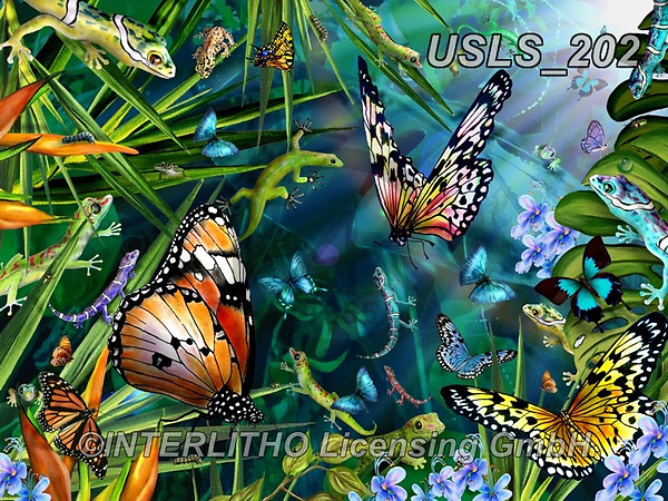 Lori, REALISTIC ANIMALS, REALISTISCHE TIERE, ANIMALES REALISTICOS, zeich, paintings+++++Geckos_Butterflies_Rainforest_72,USLS202,#a#, EVERYDAY ,puzzle,puzzles