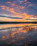 Belle Fourche National Wildlife Refuge, South Dakota: Sunset reflections at dusk, Rocky Point Recreation Area