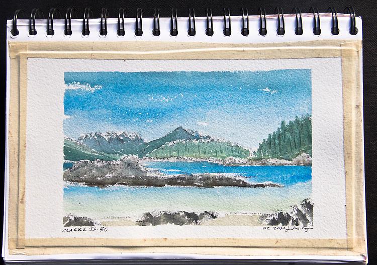 Clarke Island, Barkley Sound, Vancouver Island, watercolor, Journal Art 2010,
