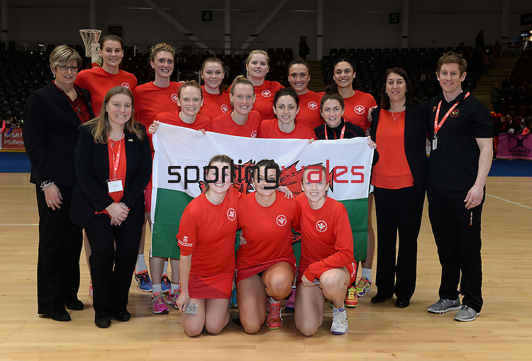 Wales Netball team with coaching staff <br /> <br /> Swansea University International Netball Test Series: Wales v New Zealand<br /> Ice Arena Wales<br /> 08.02.17<br /> ©Ian Cook - Sportingwales
