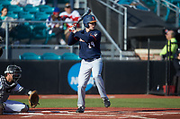 Nathan Aide (29) of the Illinois Fighting Illini at bat against the Coastal Carolina Chanticleers at Springs Brooks Stadium on February 22, 2020 in Conway, South Carolina. The Fighting Illini defeated the Chanticleers 5-2. (Brian Westerholt/Four Seam Images)