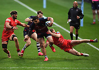 30th September 2020; Ashton Gate Stadium, Bristol, England; Premiership Rugby Union, Bristol Bears versus Leicester Tigers; Alapati Leiua of Bristol Bears drives for the line but is brought down by the Leicester Tigers defence