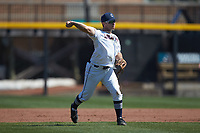 Connecticut Huskies third baseman David Langer (41) makes a throw to first base against the Miami Redhawks at Springs Brooks Stadium on March 5, 2021 in Conway, South Carolina. The Huskies defeated the Redhawks 5-0. (Brian Westerholt/Four Seam Images)