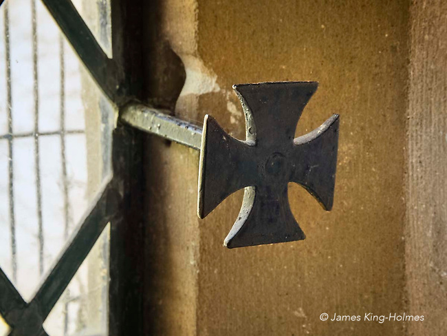 Detail of a window fitting of St Lawrence Church, Tubney, Oxfordshire, UK. This is the only Protestant church designed by Augustus Pugin. The interior fittings were designed by him and remain unchanged since its consecration in 1847.