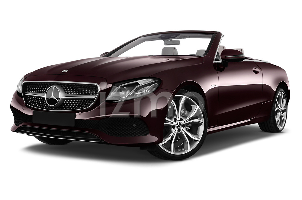 Stock pictures of low aggressive front three quarter view of a 2018 Mercedes Benz E Class 25th Anniversary 2 Door Convertible
