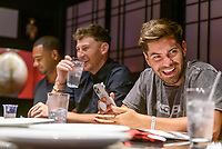 LAS VEGAS, NV - July 15, 2021: Clay harbor, Blake Horstman and Dylan Barbour pictured at Benihana Restaurant at Westgate Las Vegas Resort & Casino in Las Vegas, NV on July 15, 2021. <br /> CAP/MPI/GDP<br /> ©GDP/MPI/Capital Pictures