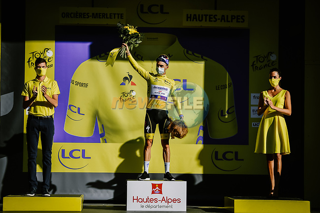 Julian Alaphilippe (FRA) Deceuninck-Quick Step retains the race leaders Yellow Jersey at the end of Stage 4 of Tour de France 2020, running 160.5km from Sisteron to Orcieres-Merlette, France. 1st September 2020.<br /> Picture: ASO/Pauline Ballet   Cyclefile<br /> All photos usage must carry mandatory copyright credit (© Cyclefile   ASO/Pauline Ballet)