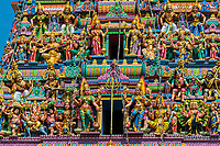 Colorful Sri Mariamman Hindu temple with beautiful carved and painted statues in the Chinatown area of Singapore, Southeast Asia