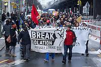 Fluechtlingsprotest anlaesslich der Verhaftung von 19 Menschen bei Solidaritaetsaktion vor Fluechtlingsheim in Koeln am 18. Maerz 2013.<br />Etwa 180 Menschen protestierten am Montag den 11. Maerz 2013 in Berlin gegen die Verhaftung von 19 Menschen bei einer Solidaritaetsaktion vor einem Fluechtlingsheim in Koeln am Vortag. Die Koelner Polizei hatte die Menschen unter Einsatz von Schlagstoecken und <br />Pfefferspray festgenommen und mehrere Menschen zum Teil schwer verletzt, nachdem sie versucht hatten in dem Fluechtlingsheim Flugblaetter zu verteilen. Die Heimleitung hat gegen die Festgenommenen Anzeige wegen Hausfriedensbruch gestellt.<br />11.3.2013, Berlin<br />Copyright: Christian-Ditsch.de<br />[Inhaltsveraendernde Manipulation des Fotos nur nach ausdruecklicher Genehmigung des Fotografen. Vereinbarungen ueber Abtretung von Persoenlichkeitsrechten/Model Release der abgebildeten Person/Personen liegen nicht vor. NO MODEL RELEASE! Don't publish without copyright Christian-Ditsch.de, Veroeffentlichung nur mit Fotografennennung, sowie gegen Honorar, MwSt. und Beleg. Konto:, I N G - D i B a, IBAN DE58500105175400192269, BIC INGDDEFFXXX, Kontakt: post@christian-ditsch.de<br />Urhebervermerk wird gemaess Paragraph 13 UHG verlangt.]