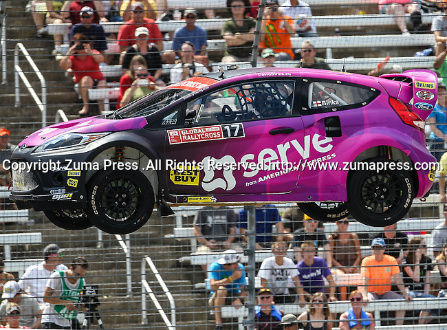 David Binks (17) driver of the Best Buy Serve car, in action during the Global Rally Cross race, the Hoon Kaboom, at Texas Motor Speedway in Fort Worth,Texas. Global Rally Cross driver Marcos Gronholm (3) wins the Hoon Kaboom race..