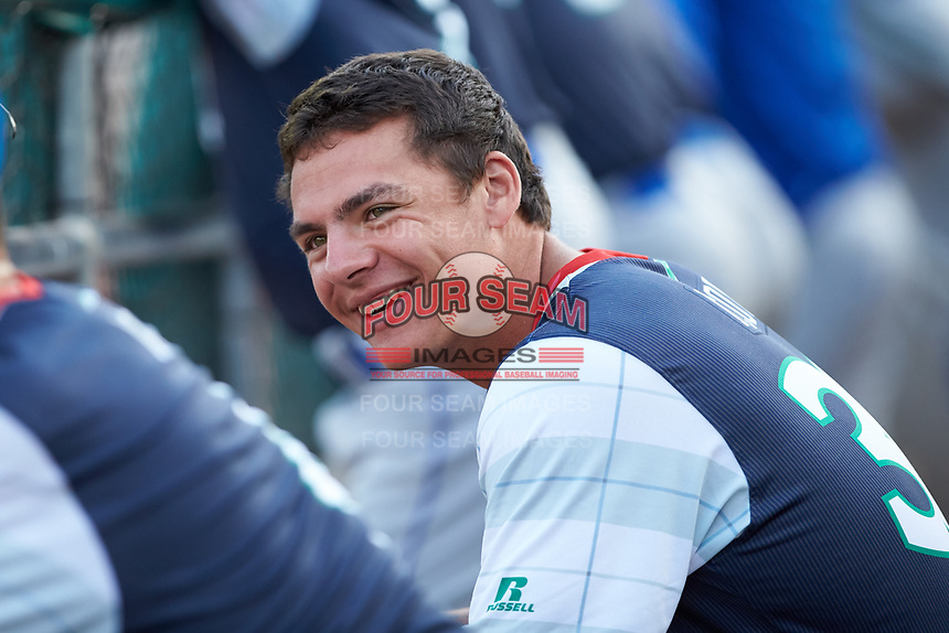 Nick Pratto (30) of the Lexington Legends watches the action from the dugout during the game against the West Virginia Power at Appalachian Power Park on June 7, 2018 in Charleston, West Virginia. The Power defeated the Legends 5-1. (Brian Westerholt/Four Seam Images)