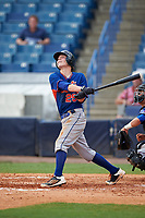Reeder Smith (25) of Russellville High School in Russelville, Alabama playing for the New York Mets scout team during the East Coast Pro Showcase on July 29, 2015 at George M. Steinbrenner Field in Tampa, Florida.  (Mike Janes/Four Seam Images)