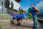 Killorglin rowing coach Mike Fleming  in foreground cheering on Killorglin olympians Monika Dukarska and Aileen Crowley In photo from left arel: Lilly Gallagher, Anna Tyther, Rhiannon O'Donoghue, Molly Sullivan,  Zoe Hyde, Kieran McHugh and Sean Houlihan.