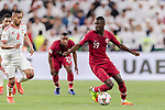 Almoez Ali of Qatar (C) in action during the AFC Asian Cup UAE 2019 Semi Finals match between Qatar (QAT) and United Arab Emirates (UAE) at Mohammed Bin Zaied Stadium  on 29 January 2019 in Abu Dhabi, United Arab Emirates. Photo by Marcio Rodrigo Machado / Power Sport Images